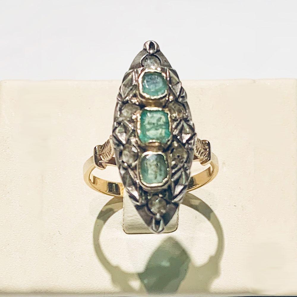 anello-oro-antico-diamanti-smeraldi-800-gioielli-gioielleria-berluti