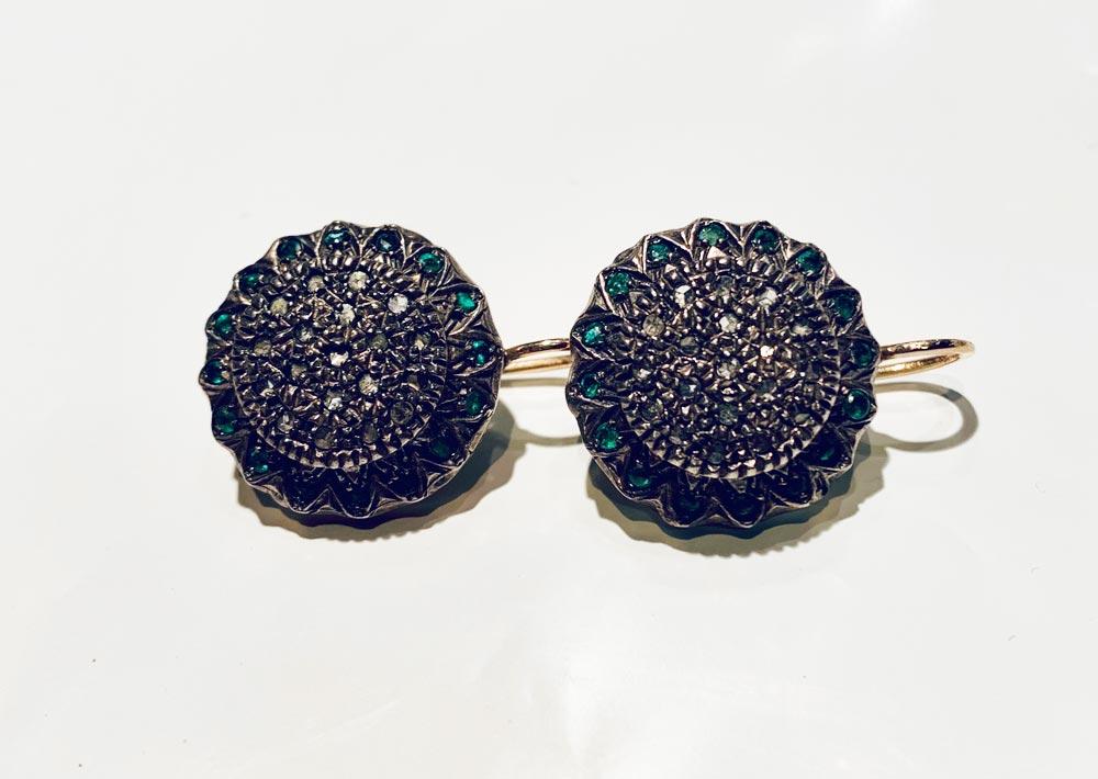 orecchini-antichi-diamanti-smeraldi-oro-18-carati-pezzo-unico-collezione-gioielleria-berluti